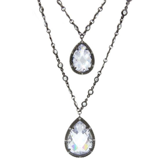 "FEMME ""Luxure"" Double Teardrop Layer Necklace in black"