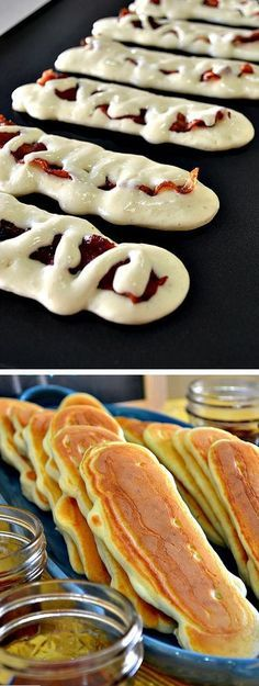 Bacon Pancake Dippers.Pancakes are usual weekend breakfast, but you will make them much fancy if you cook these bacon pancake dippers! It's just usual pancakes filled with crispy roasted bacon, and they are almost as simple as making regular pancakes, only you will need to roast bacon first. Amaze your family with these utterly unusual and really tasty pancakes!