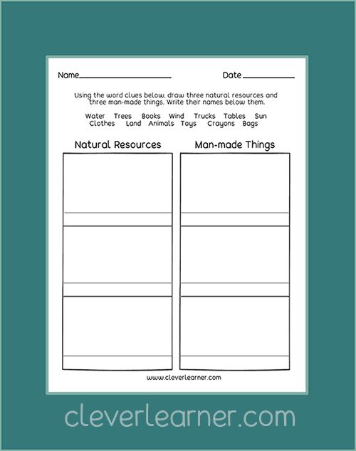 Free Kindergarten Worksheets On Natural Resources And Man Made Resources Kinderga Kindergarten Worksheets Kindergarten Addition Worksheets Worksheets For Kids