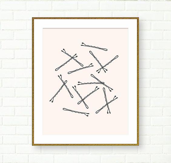 Wall Decor Art, Poster, Bobby Pin Grafik, druckbare, Bademode, Pink Schwarz, Badezimmer, Waschtisch Wand Kunst, sofortiges Download druckbare Kunst