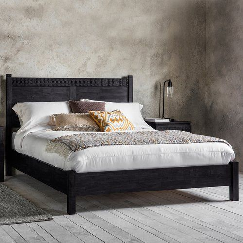 Martel Bed Frame Bay Isle Home Colour Black Charcoal Size