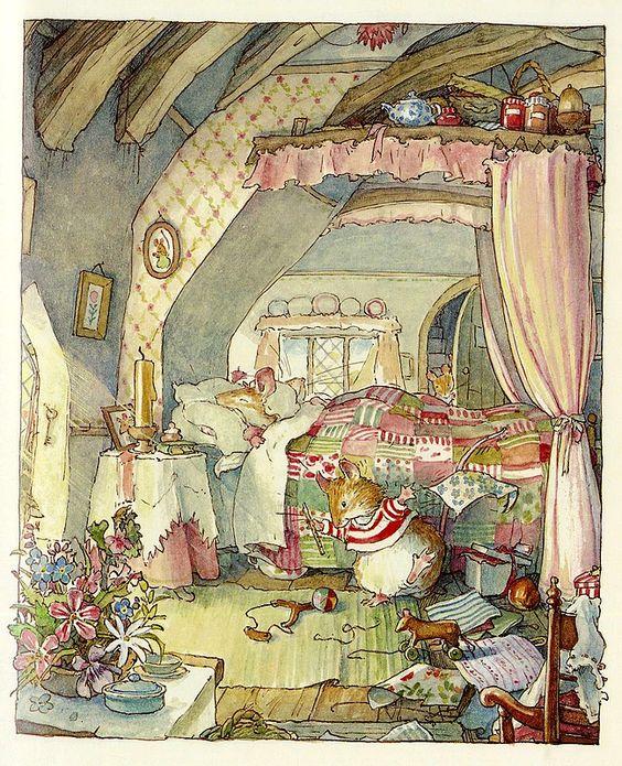 Brambly Hedge by Jill Barklem my fave. Kids books. I still have them all. X:
