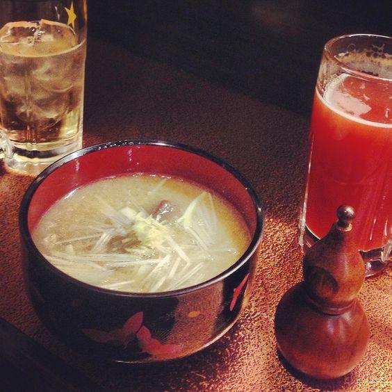 [あら汁*2013/01/18]     居酒屋さんであら汁いたらきやーす(p・ω・q)       @近所の居酒屋さん