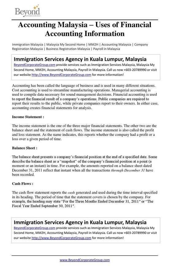 Accounting Malaysia  Importance Of Well Structured Financial