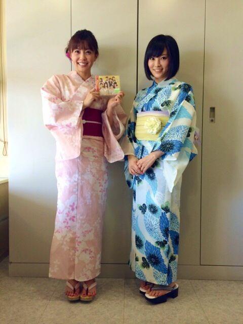 小林麻耶浴衣姿でかわいい!山本彩と2ショット