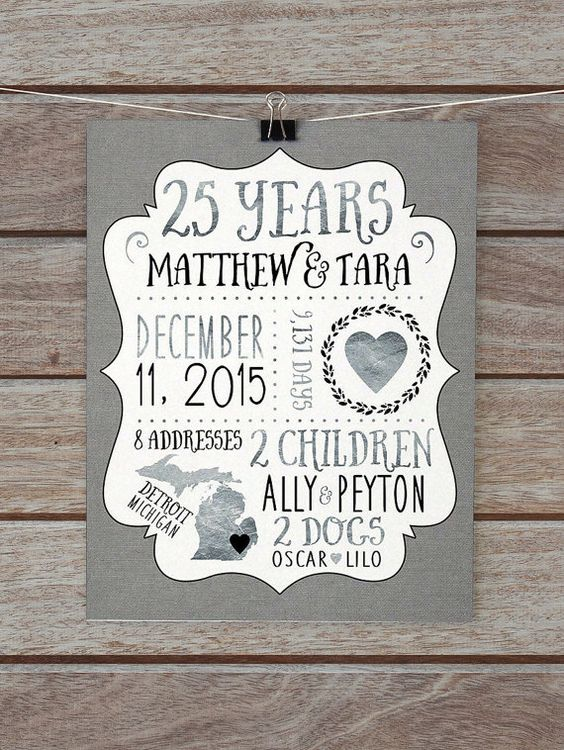Silver Wedding Anniversary Gift Ideas Parents : 25 Year Anniversary Gift, Silver Wedding Anniversary Custom Gift for ...