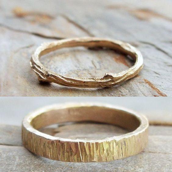 Solid 14k Matching Tree Bark / Twig Wedding Band por brightsmith