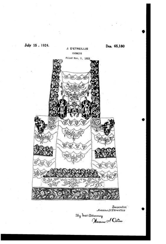 JEANNE DETREILLIS is one of the two Boué Soeurs. UNITED STATES PATENT OFFICE.  JEANNE DETREILLIS, OF NEW YORK, N. Y.  DESIGN FOR A CHEMISE.  . Application filed November 2, 1923.