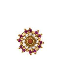 pendiente en forma de flor de rubíes y diamantes - YVONE LÉON
