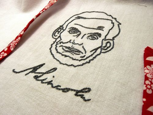abe lincoln embroidered tea towel