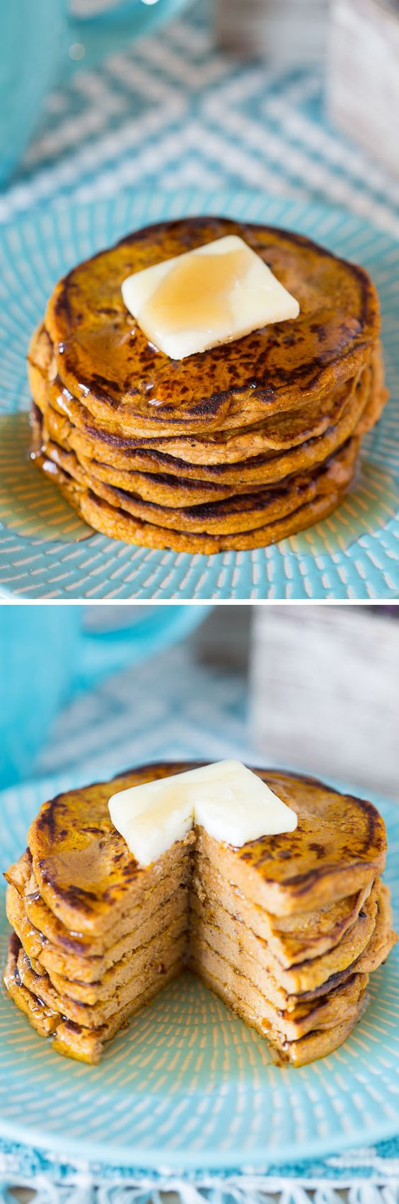 You can make these Five-Ingredient Pumpkin Protein Pancakes with just two ingredients, but I added a couple for good measure, including protein powder!