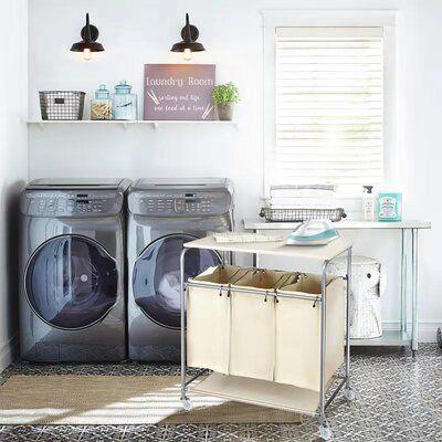 Rebrilliant Heavy Duty Laundry Sorter With Ironing Board And Wheels Laundry Room Cabinets Laundry Hamper Laundry Sorter