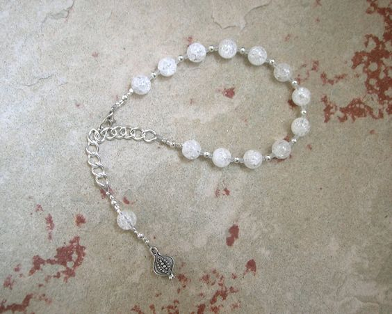 Persephone Prayer Bead Bracelet in Cracked Rock Crystal: Greek Goddess of Spring,  Renewal, Death and the Afterlife, Queen of the Underworld by HearthfireHandworks on Etsy