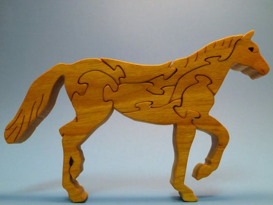 Wooden HORSE Scroll Saw Wood Puzzle by WoodAnimals on Etsy