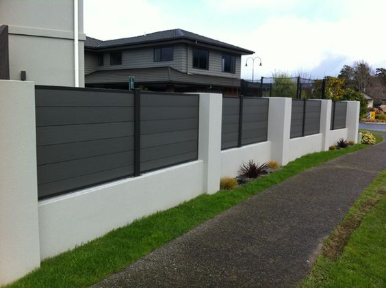 composite plastic wood fence panel courtyard fence design ideas - Fence Design Ideas