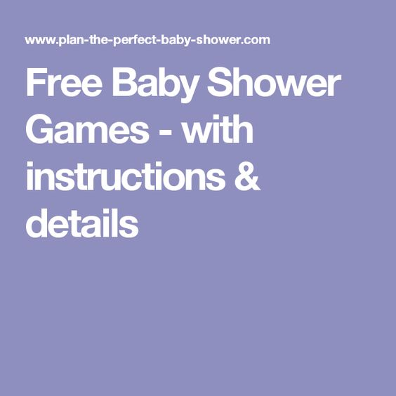Free Baby Shower Games - with instructions & details