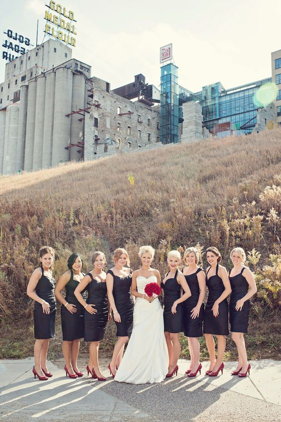 Bride & party at Mill City Ruins Park // Photo by Ashley B #minneapolisweddingphotography #weddingphotography #weddingparty