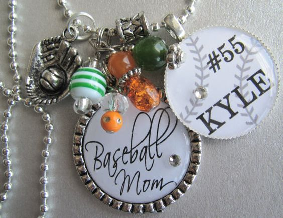 Baseball Mom Double Silver Pendant Necklace - All Stars, Tournament, Team Colors, Baseball, Football, Hockey, Soccer. $22.50, via Etsy.
