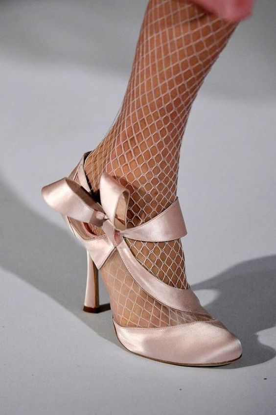 White/lt pink fishnet and satin lace-up ribbon heels- WIN! | Body ...