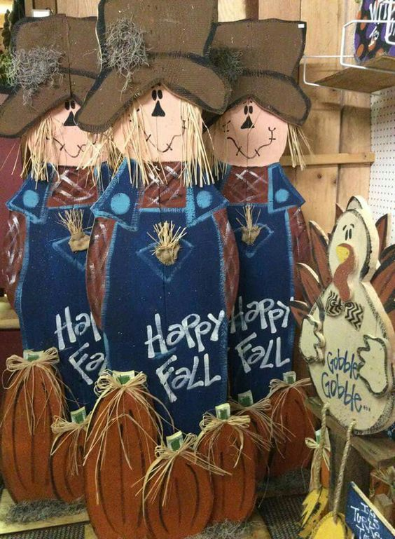 Tall rustic scarecrow Happy Fall scarecrow wood craft for outdoors