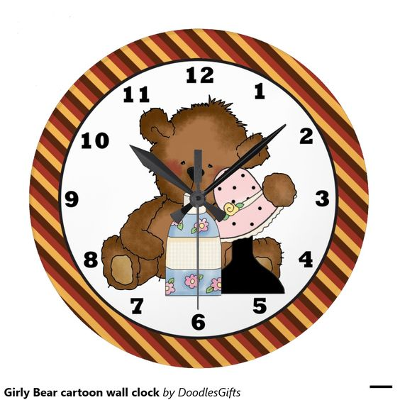 Horloge murale Girly de bande dessinée d'ours