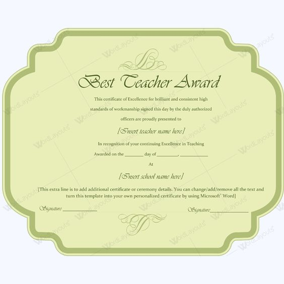 14 best Best Teacher Award Certificate Templates images on - award of excellence certificate template