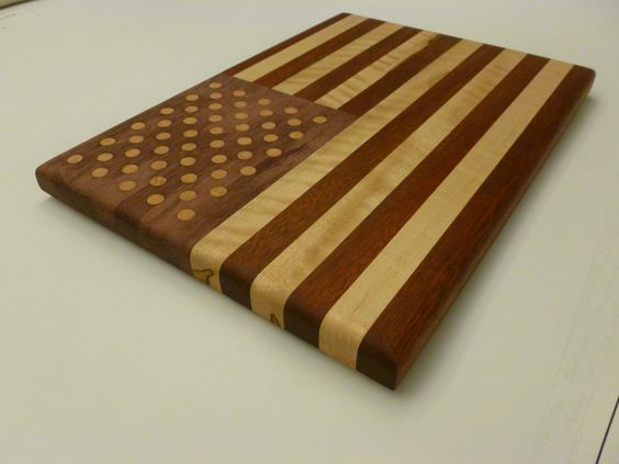 The American Flag Cutting Board Bloodwood Curly Maple