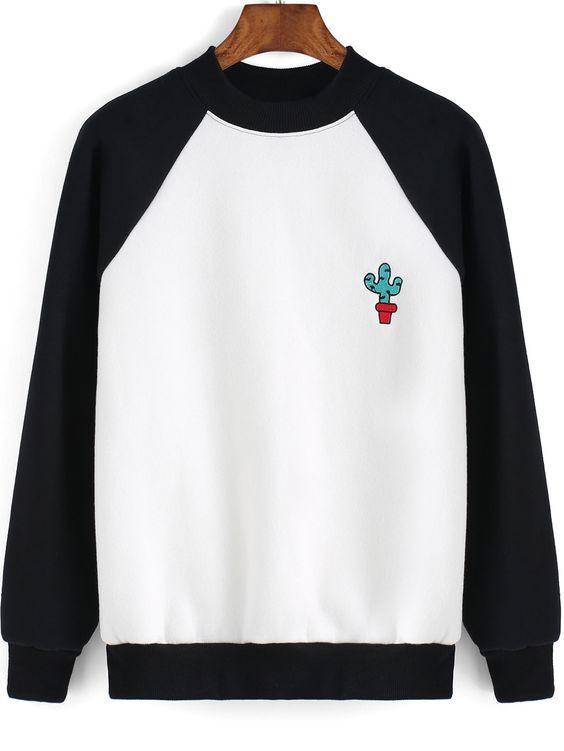 Sweat-shirt cactus imprimé couleur bloc  13.26