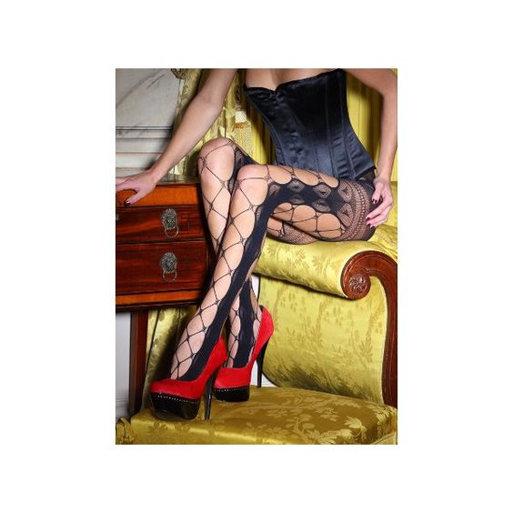 Vixen Dita Wide Lace Fishnet Tights