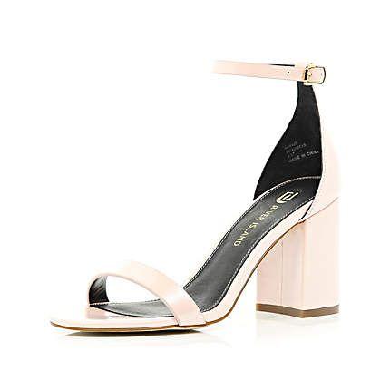 Light pink block heel barely there sandals £40.00   Springsummer