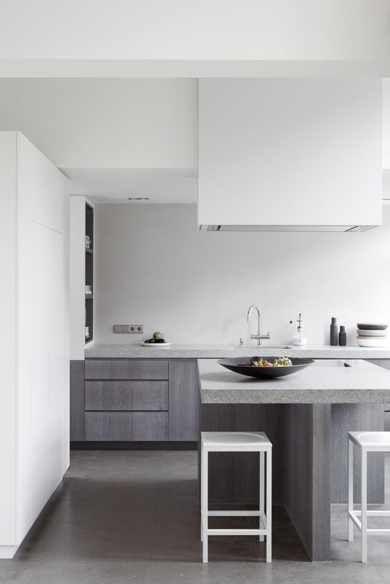 Grey & white clean lined kitchen