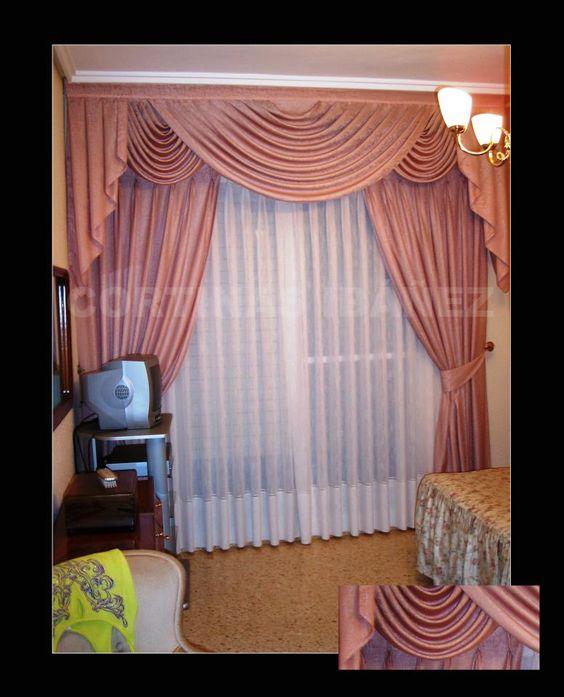 Montaje triple de cortinas con bando de hondas y corbatas - Cortinas con visillo ...