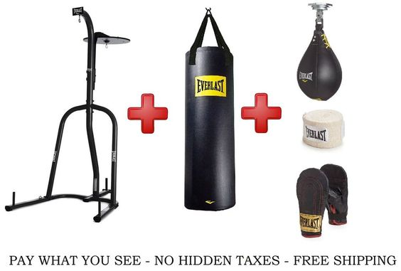Everlast Dual Station Heavy Bag Stand 100lb Punching Bag Speed Boxing Kit Gloves Heavy Bag Stand Everlast Bag Stand