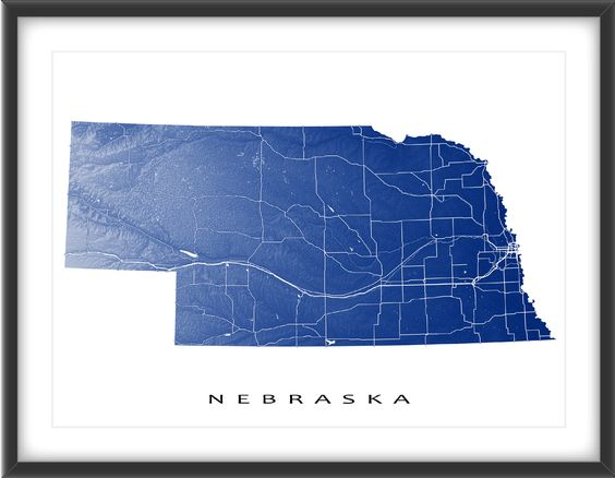 Nebraska Map Print USA State NE Beautiful The Map And The Ojays - Ne map of usa