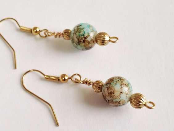 Mottled Aqua and Browns Dangle Earrings with by ButterflyWarriors, $16.00