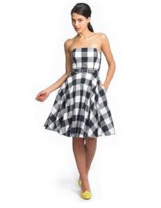 Gingham Bridesmaid Dresses | gingham taffeta belted dress with its playful gingham print and ...