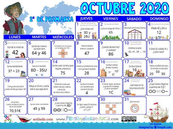 Calendario Segundo ABN – Octubre 2020