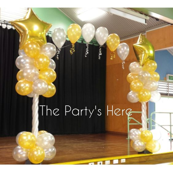 Themed Arch for a Year 6 Farewell/Graduation. Change up the colours and feature balloons and this is suited to any occasion.  www.thepartyshere.com.au   #balloons #qualatex #iamconwin #balloondecorating #decorations #party #year6 #farewell #graduation #congrats #congratsgrad #celebrate #partytime #gold #silver #elegant