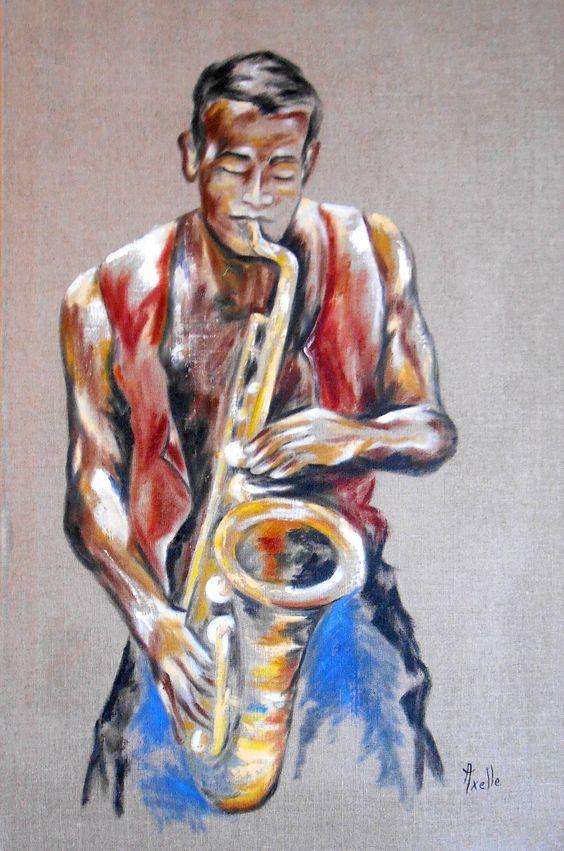 Tableau musicien saxophoniste sur toile de lin par - Peinture sur lin ...