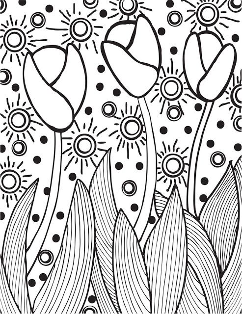 Abstract Spring Coloring Pages : Coloring spring and adult pages on pinterest