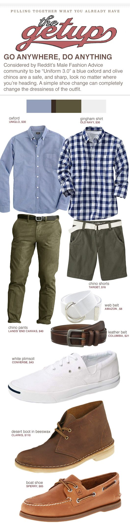 """The Getup: Go Anywhere, Do Anything - Considered by Reddit's Male Fashion Advice community to be """"Uniform 3.0"""" a blue oxford and olive chinos are a safe, and sharp, look no matter where you're heading. A simple shoe change can completely change the dressiness of the outfit."""