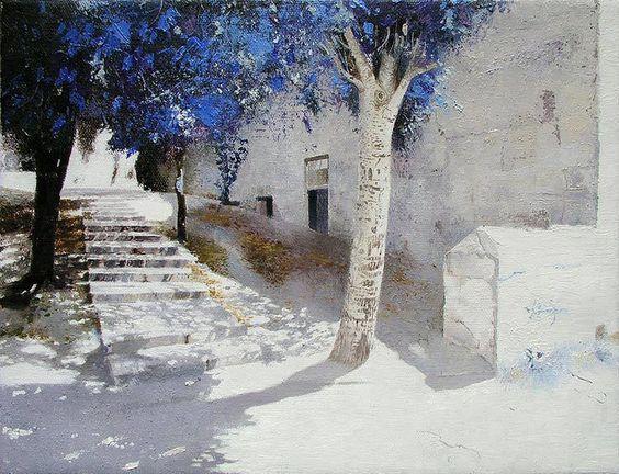 """白き町ジャガランダの花盛り  RT""""@mjesusgz: Painting by Piotr Kozlov - #pintura #art #artwit #twitart #fineart #painting """""""