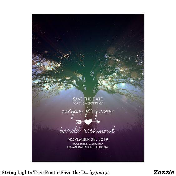 String Lights Tree Rustic Save The Date Postcard Weddings Pinterest