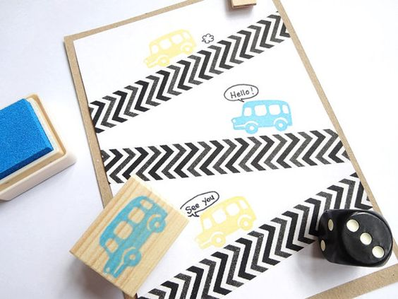 Car rubber stamp Vehicle stamp Baby shower by JapaneseRubberStamps