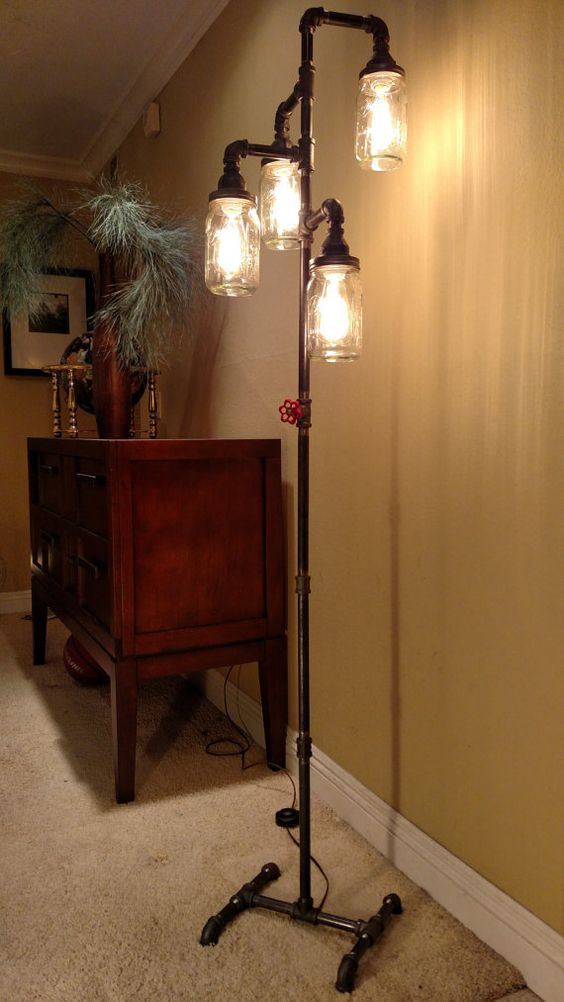 Pipe Floor Lamp 4-fixture Living Room Steampunk Mason Jar