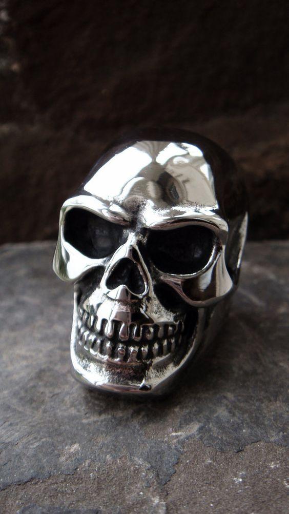 Skull Ring 316L STAINLESS STEEL Mens ring oversized by ShopSparrow, $32.99