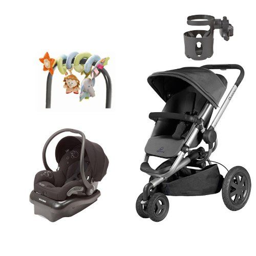 Quinny Buzz Travel System: Buzz Xtra Stroller & Maxi-Cosi Mico Infant Car Seat, Black - With Cup Holder & Mobile Uppsala. Added bonus: Haba Mobile Uppsala and Universal Cup holderby Valco Baby. Air-filled rear tires and suspension, height adjustable handle. Quinny Buzz Stroller Buzz features revolutionary hydraulic unfold, rear or forward facing seat. Mico Car Seat features side impact protection, 5 point harness. Lightweight design easy to use as a travel system.