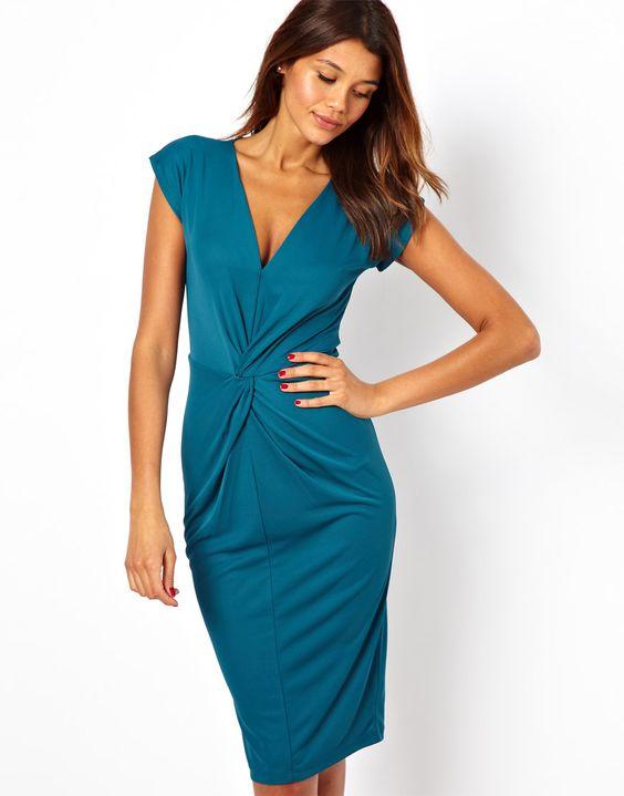 ASOS | ASOS Crepe Dress With Twisted Waist Detail at ASOS