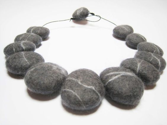 Hand felted wool pebble granite stone necklace £28.00