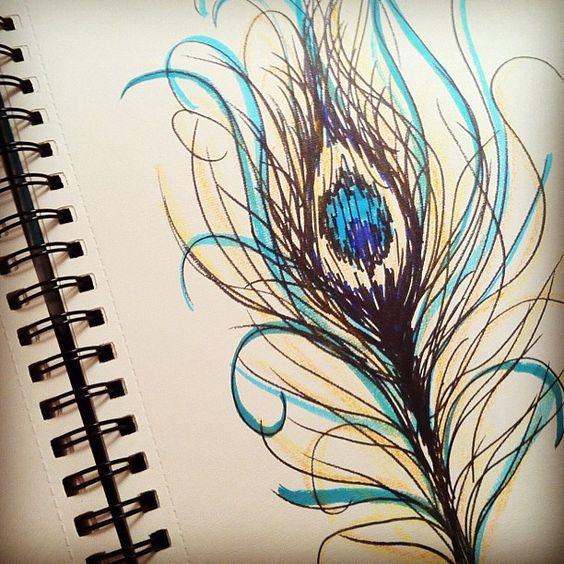 peacock feather sketch by ssylviadangg via flickr to